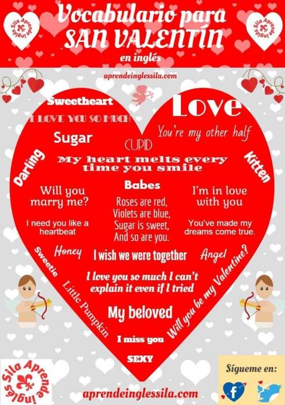 Vocabulario En Inglés Para San Valentín Valentines Day
