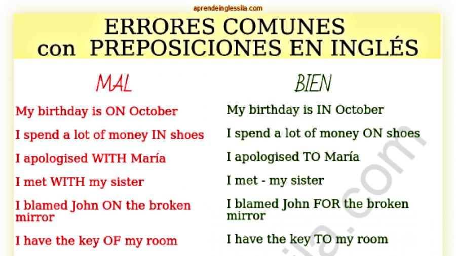 errores comunes con las preposiciones