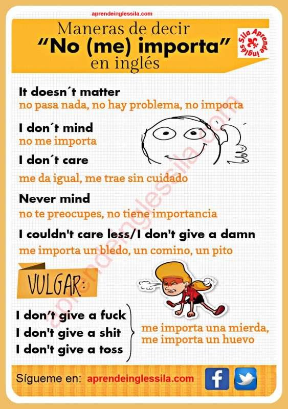 no me importa en inglés